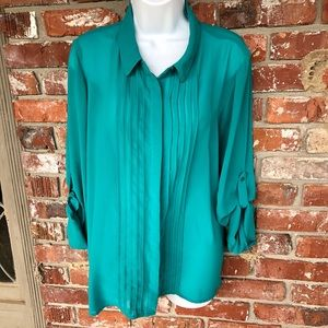 Lauren Conrad green button up blouse size Large